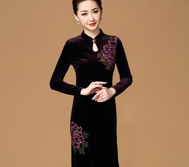 中年典雅女性心头好,丝绒旗袍裙,尽展优美曲线,沉淀时光之美