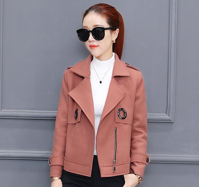 小香风修身小个子毛呢外套女秋冬款韩版学生短款加厚气质呢子大衣图片