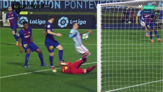 西班牙国脚破门前手球!巴萨联赛两战塞尔塔均吃亏丢分
