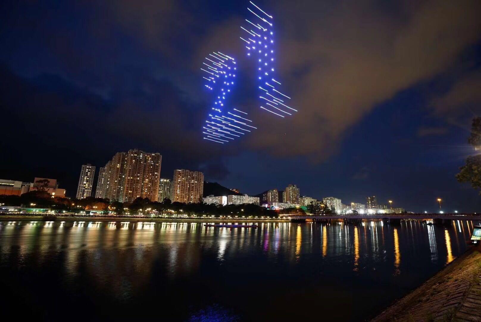 白鹭栖明珠万人空巷,香港首次无人机编队表演庆回归