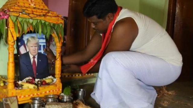 特朗普在印度成神了!民众为他建神龛每天烧香