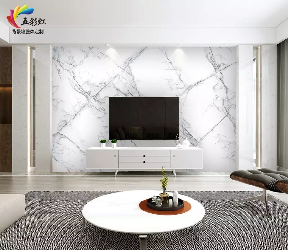 7,简约大气爵士白电视背景墙装修设计效果图