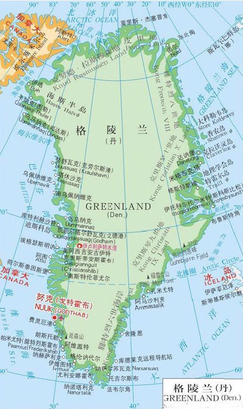 格陵兰岛地图   格陵兰在什么位置?图片