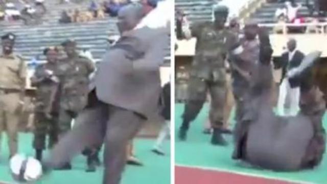 尴尬!乌干达副总理秀球技 帅气一踢后摔了个四脚朝天