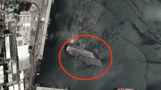 """实拍!中国""""长光卫星""""鸟瞰美国航母靠港过程 海水波浪都能看清"""
