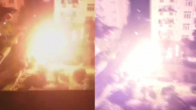实拍:湖南一学院配电房深夜起火强光耀眼 学生受惊尖叫