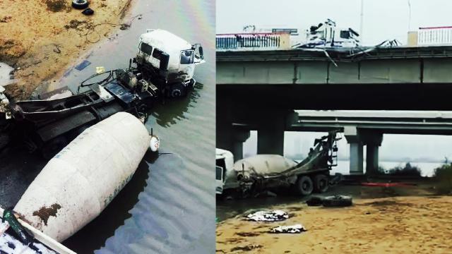 罐车解体!实拍水泥罐车冲破松花江公路大桥护栏坠地