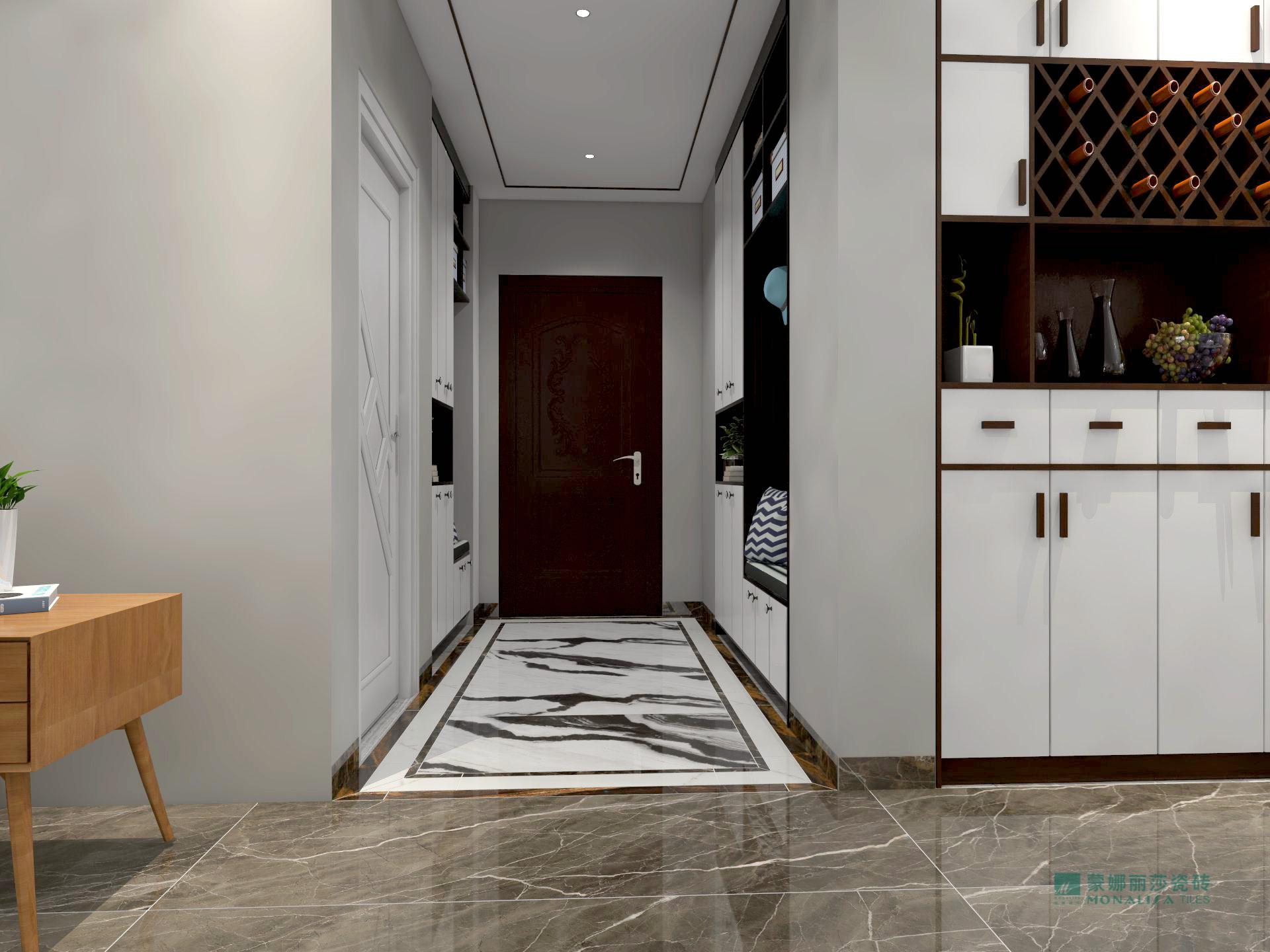 入户玄关用白色地砖,笔磨式的纹理无不彰显出优雅的浓浓味道.图片