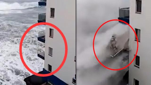 阳台瞬间被卷走!暴风雨袭击 十米巨浪席卷西班牙特内里费岛