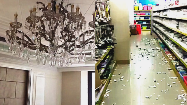 地震瞬间曝光!台湾海峡发生6.2级地震 超市物品掉散一地