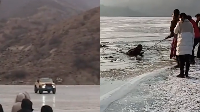 男子开车在冰面漂移 5人落水3人下落不明