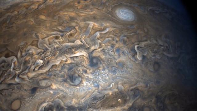 NASA公布了朱诺号太空飞船拍摄的罕见木星大气层壮美图案