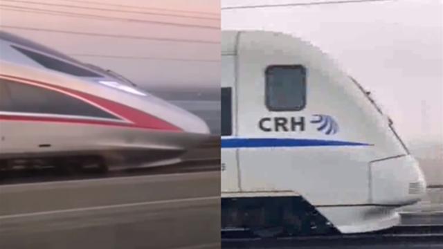 """双视角看中国高铁极速""""飙车"""":复兴号一个提速将和谐号甩在身后"""