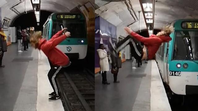 危险!地铁进站霎时须眉忽然后空翻 差1秒就被撞吓呆搭客