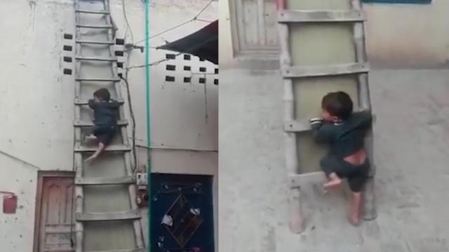 3岁男童爬三米高梯子不慎踩空 摔落在地后淡定跑走:刚发生了啥