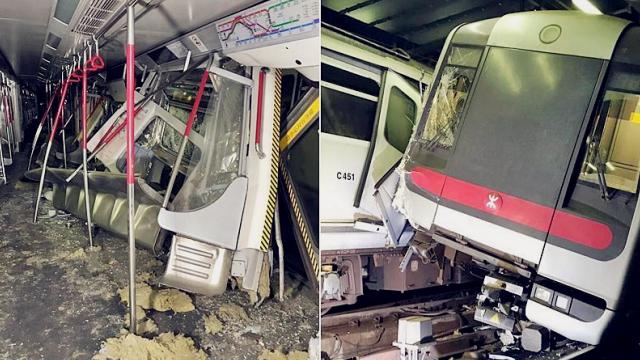 香港地铁两辆列车相撞现场狼藉 两名列车长受伤被送医治疗