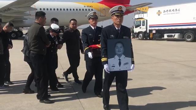 接海军英雄烈士任永涛回家 海南失事战机飞行员魂归故里