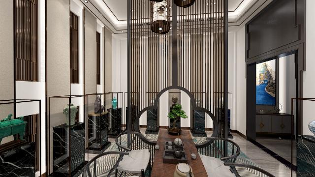中式风格别墅茶室全景图