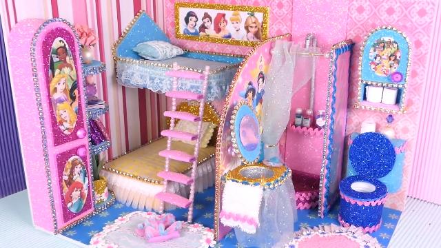 diy迷你娃娃屋,卡通公主装饰的儿童卧室