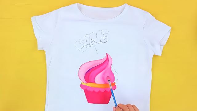 小姐姐自制冰淇淋夏日体恤衫,看一遍就能学会,比买的还好看