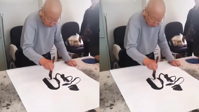 """94岁""""阎王爷""""刘江近况曝光,低头练习毛笔字,精神矍铄"""