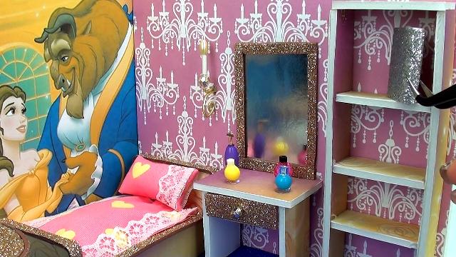 DIY迷你娃娃屋,贝儿公主与野兽王子的卧室