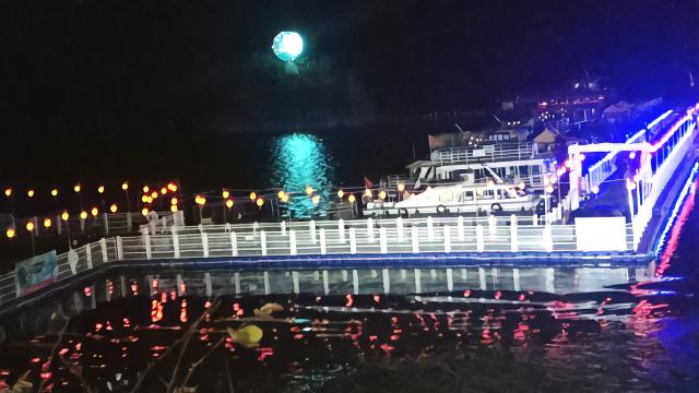 广西上林 大龙湖中秋活动日 七彩夜色绚丽多彩