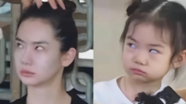 基因太强大!戚薇翻白眼表情与女儿lucky一模一样.