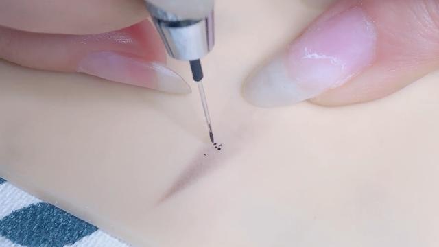 纹绣新手该如何更好利用线条针来刻画线条眉呢