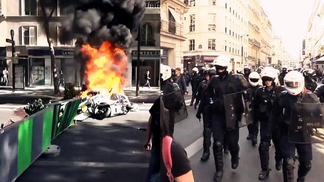 实拍:法国上万民众街头游行 巴黎浓烟滚滚 警方动用催泪瓦斯
