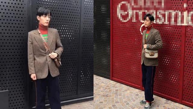 肖战复古风造型亮相时装周 红绿撞色毛衣超fashion
