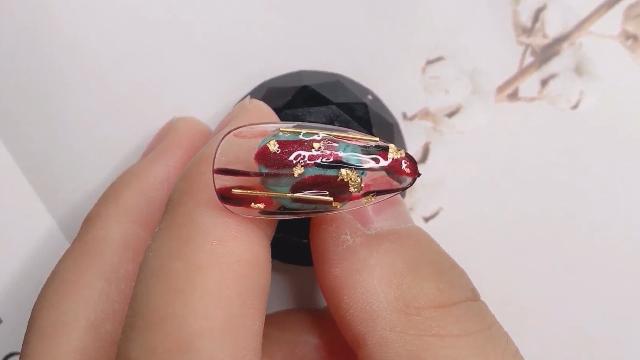 日式美甲新手干货教程,玻璃盏款式美甲操作手法细节分享