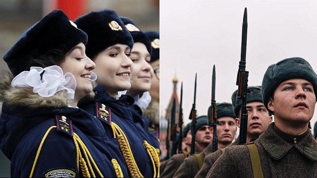 实拍俄罗斯红场阅兵:穿上苏联红军服饰 女兵肤白貌美吸睛