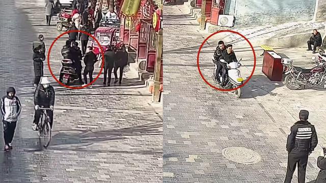 怎样的缘分?实拍:男子骑车载民警追逃 对比照片后车主就是逃犯
