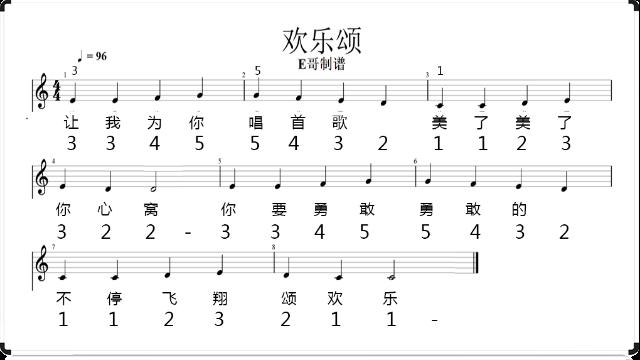 自学钢琴Vlog二分钟看完就会弹奏《欢乐颂》简谱五线谱及歌词