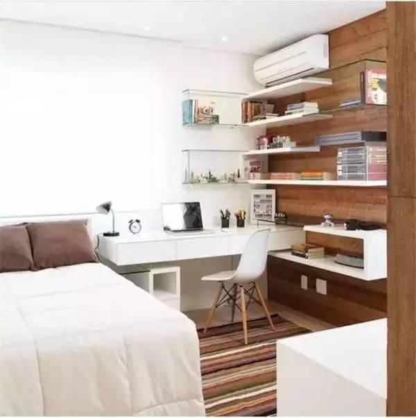 小户型想节省空间?卧室书房一体化设计图片