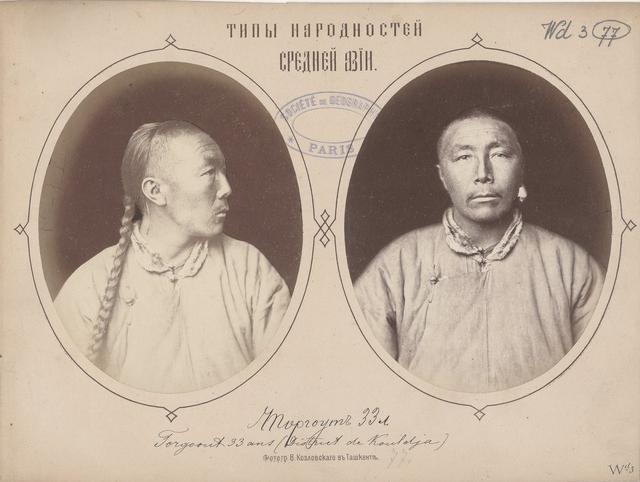 老照片:1877年清朝人的辫子自拍照图片