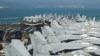 """美国""""里根""""号航母进入香港水域 甲板摆满舰载机"""