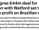 邮报:埃弗顿同意4400万镑签下理查利森