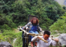 """女游客受伤无法行走 3村民自制""""滑竿""""免费抬出山"""