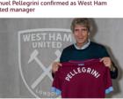 官方:佩莱格里尼执教英超西汉姆 签约3年