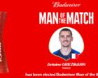 格列兹曼当选决赛最佳球员 造乌龙+点射命中 参与3粒进球