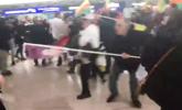 德国机场180人爆发冲突现场