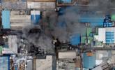 韩国化工厂起火现场 伤亡暂不明