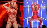 布兰妮演唱会穿红舞衣上演热舞