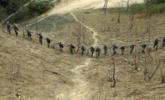 中越边境扫雷:士兵手拉手来回走确认安全