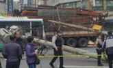 韩国卡车撞倒电线杆 92户家庭停电