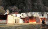世界粮食计划署仓库失火现场