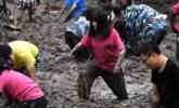 大学师生校园荷塘比赛挖藕