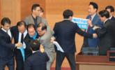 """韩国执政党与在野党议员""""大打出手"""""""